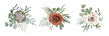 Floral Set With Roses, Cactus,...