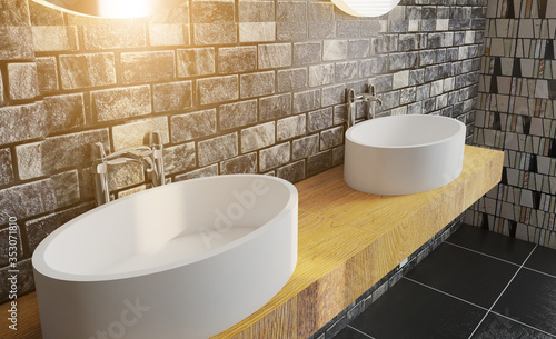 Fototapeta bathtub with large tiles. mosaic on the walls. wooden countertop with two washbasins. 3D rendering.. Sunset. obraz