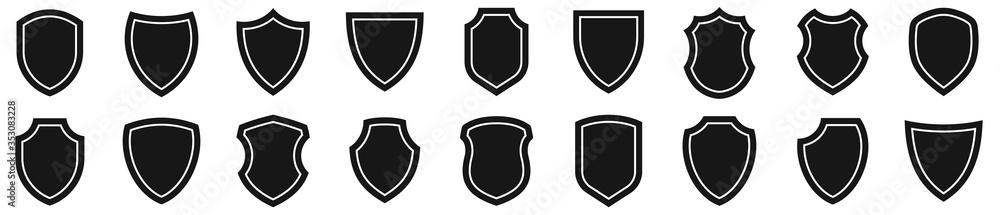 Fototapeta Shield icons set. Protect shield vector
