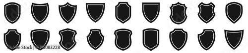 Valokuva Shield icons set. Protect shield vector