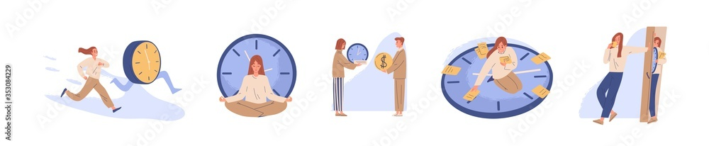 Fototapeta Concept of interaction people and time set vector flat illustration. Collection of man and woman business timing, earn money, self organization, missed opportunities, day planning isolated on white