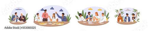 Foto Set of various diverse business team eating together vector flat illustration