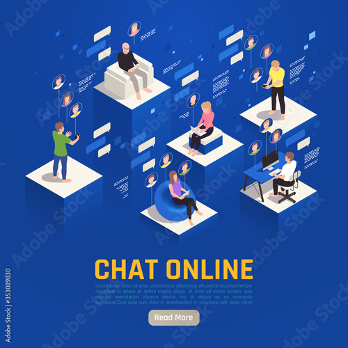 Obraz Chat Online Isometric Background - fototapety do salonu