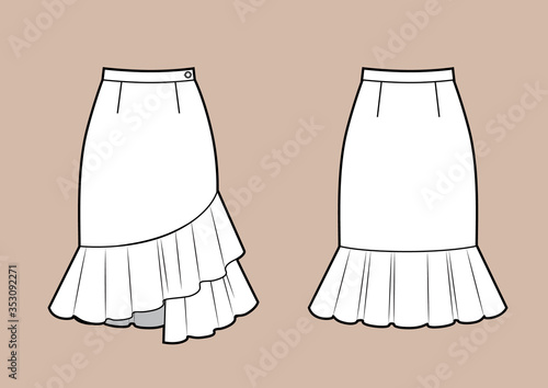 Obraz na plátně Asymmetric skirt with volant frill technikal sketch