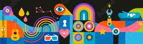 Fotografie, Obraz Geometric abstract background, street wall art concept, festival, street fair, carnival event poster, banner design