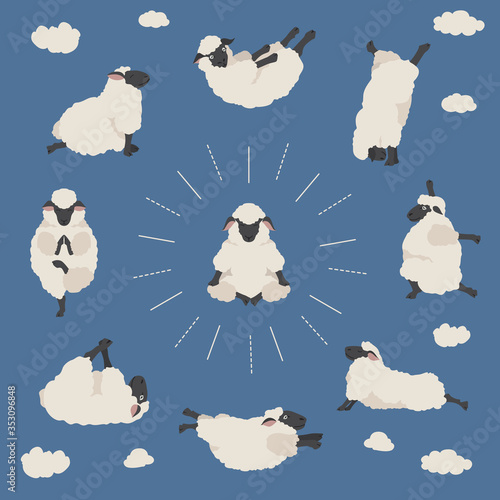 Obraz Sheep yoga poses collection. Farm animals set. Flat design - fototapety do salonu