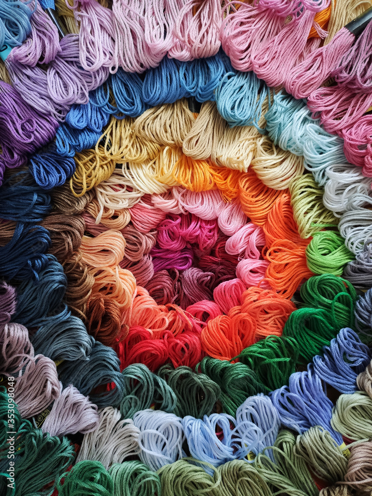 multi-colored thread floss background