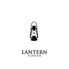 Lantern Lamp Old Black Logo Icon Design Illustration
