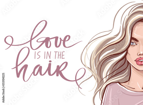 Fototapeta Beautiful girl with long hair and Vector Handwritten lettering quote about balayage. obraz