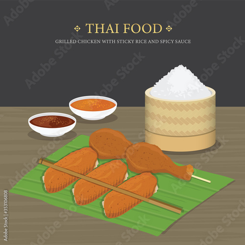Fototapeta Set of Traditional Thai food, Grilled chicken with sticky rice and spicy sauce over banana leaf. Cartoon Vector illustration  obraz