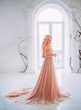 canvas print picture - beautiful elegant blond woman princess standing. Model in white interior classic vintage medieval room french window columns, black tree branches artificial flowers. Beige peach nude color long dress