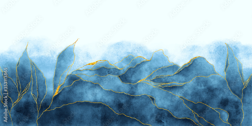 Fototapeta Watercolor background drawn by brush. Blue paints spilled on paper. Golden shiny veins and cracked marble texture. Elegant luxury wallpaper for design, print, invitations.