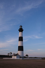 Bodie Island Historic Lighthouse In The Cape Hatteras National Seashore At Sunset, Outer Banks, North Carolina, USA