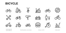 Bicycle Icons. Cycling, Wheels, Bike, Cyclist Equipment. Editable Stroke.