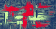 Rough And Messy Blue Canvas. Red And Salad Color Strokes On Jeans Material. Abstract Painting, Cross Hatching Texture, Grungy Vector Background