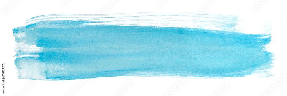Fototapeta watercolor stain brush strokes blue texture horizontal on a white background