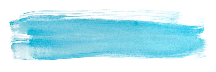 watercolor stain brush strokes blue texture horizontal on a white background