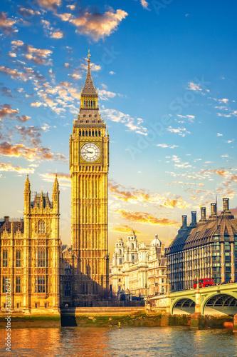 Fotografie, Obraz Big Ben and westminster bridge in London at morning