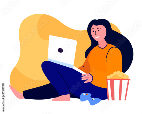 Fototapeta Young Happy Woman Gamer Playing Playstation Game on Laptop Online.Relaxed Teenager Have Fun,Gaming , Popcorn.Digital Entertainment.Stay Home,Quarantine.Positive Cheerfull Girl.Flat Vector Illustration obraz