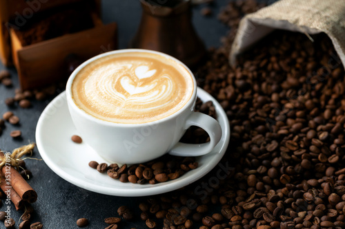 Fototapety, obrazy: Coffee beans and a cup of espresso