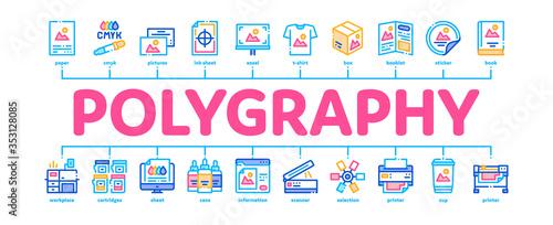 Fotografija Polygraphy Printing Service Minimal Infographic Web Banner Vector