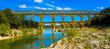 canvas print picture - pont du gard- french bridge touristic, gard