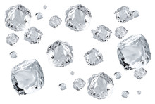 Falling Crystal Clear, Transparent Ice Cubes In Space Isolated On White Background
