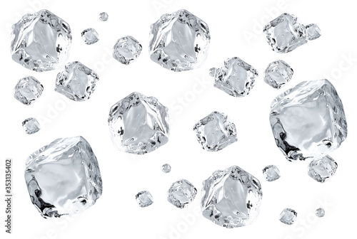 Fotografia Falling crystal clear, transparent ice cubes in space isolated on white backgrou