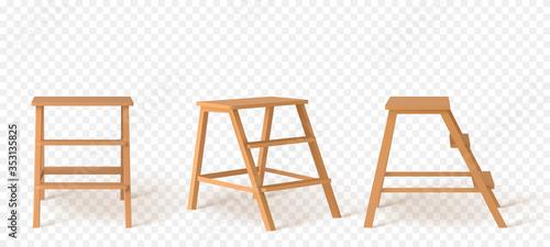 Fototapeta Realistic Detailed 3d Wooden Stairs. Vector illustration obraz