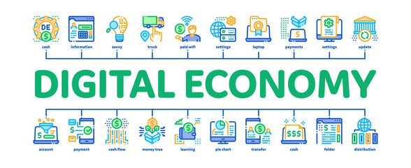 Digital Economy And E-business Minimal Infographic Web Banner Vector. Digital Economy And E-commerce, Idea Research And Cargo Delivery, Computer And Cell Phone Illustration