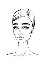 Fashion Beautiful Woman Ink Portrait. Hand Drew Tillustration For Black And White Print Woman Face With Long Eyelashes Art. Black White Sketch Of Young Woman Hairstyle Minimalistic, Girl Face Portrait