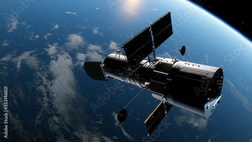 Fotografia Hubble telescope in orbit of the Earth, Hubble Space Telescope 3d render