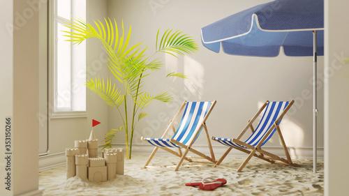 Obraz Sand vom Strand mit Liegestuhl zu Hause als Urlaub Konzept - fototapety do salonu