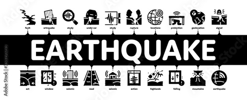 Photo Earthquake Disaster Minimal Infographic Web Banner Vector