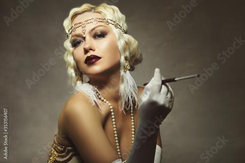 Fototapeta woman retro flapper style obraz