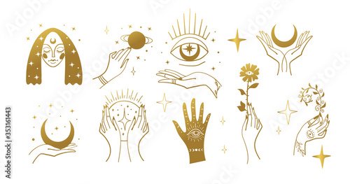 Canvastavla Set of golden magic stickers, boho design elements, tattoo, alchemical symbols, esotericism and witchcraft