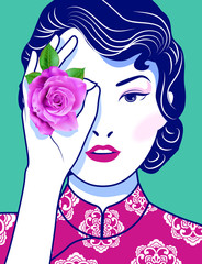 Beautiful Chinese Lady covering her eye with a pink rose flower on green background. Vector, Illustrator.