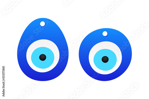 Eye-shaped amulet in flat style Canvas Print