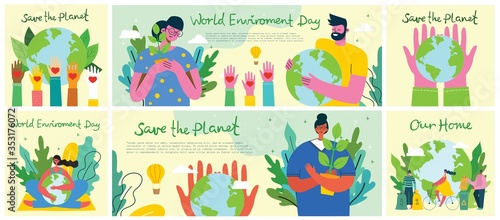Big set of world environment day posters with people holding earth globe Billede på lærred