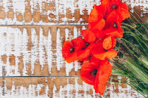 Fotografie, Obraz red field poppies on a wooden background, copy space