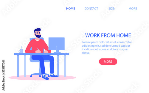 happy man working from home computer - 353187061