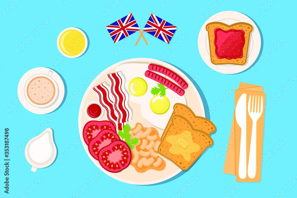 Fototapeta set elements english breakfast
