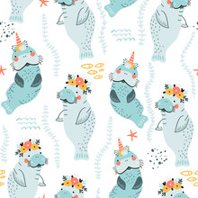 Seamless Childish Pattern With Cute Manatees With Floral Wreaths And Unicorn Horns. Vector Illustration