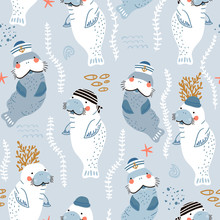 Seamless Childish Pattern With Cute Manatees Sailor Caps And Bandanas. Creative Scandinavian Style Under See Kids Texture For Fabric, Wrapping, Textile, Wallpaper, Apparel. Vector Illustration