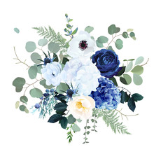 Classic Blue Rose, White Hydrangea, Ranunculus, Anemone, Thistle Flowers, Emerald Greenery