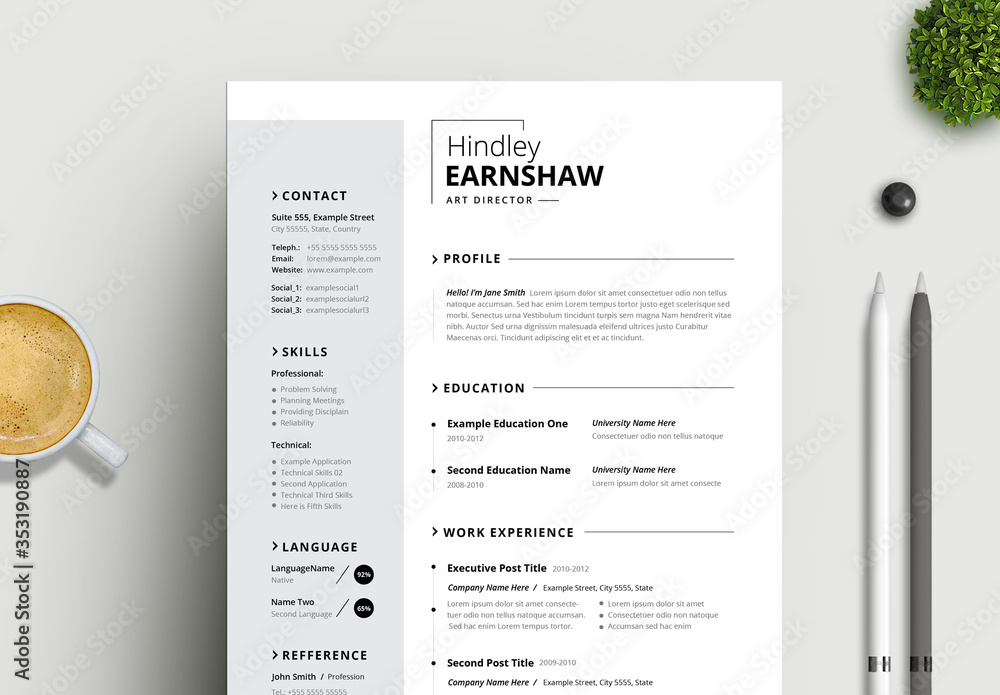 Fototapeta Black and White Resume Layout