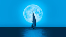 Lone Yacht With Super Blue Ful...