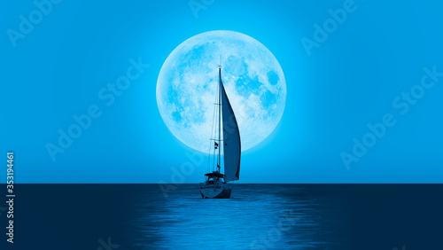 """Lone yacht with super blue full moon """"Elements of this image furnished by NASA """""""