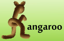 Furry Alphabet. Letter K With Effect Of Fur.  Kangaroo Word With Letter K For Learning Alphabet. Vector Illustration.