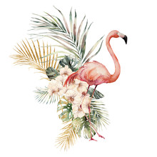 Watercolor Tropical Card With Pink Flamingos, Orchids And Palm Leaves. Hand Drawn Golden Coconut And Monstera Leaves. Floral Illustration Isolated On White Background For Design, Print Or Background.